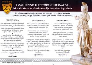 Bernarda Rimski menu Roberta Slogara